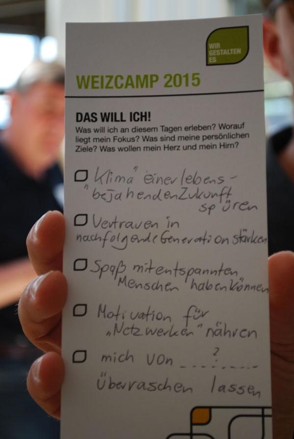 Weizcamp - persönliche Ziele