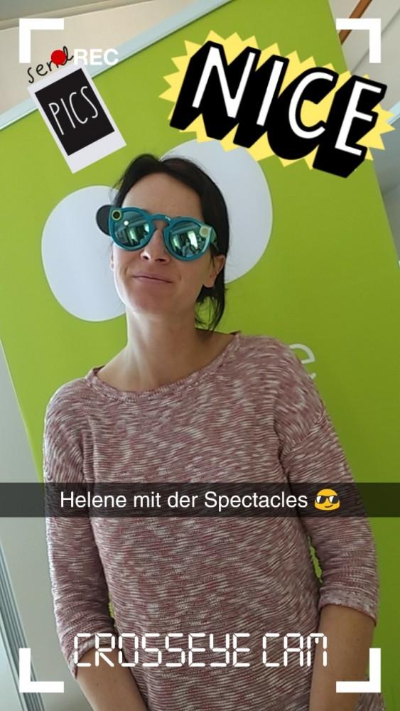 Helene mit der Snapchat-Brille Spectacles