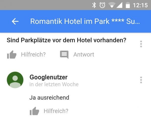 Beispiel Frage & Antwort mobiler Google Brancheneintrag