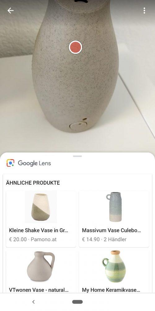 Visuelle Suche über Google Lens - Vase