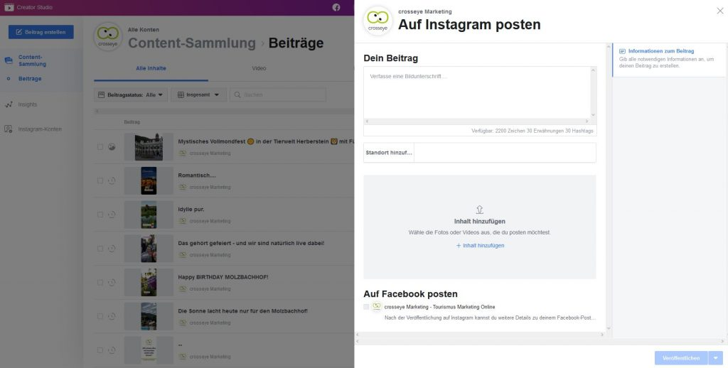 Instagram Posting über Facebook Creator Studio einstellen