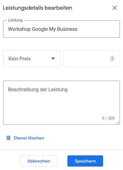 Leistungsdetails Google MyBusiness