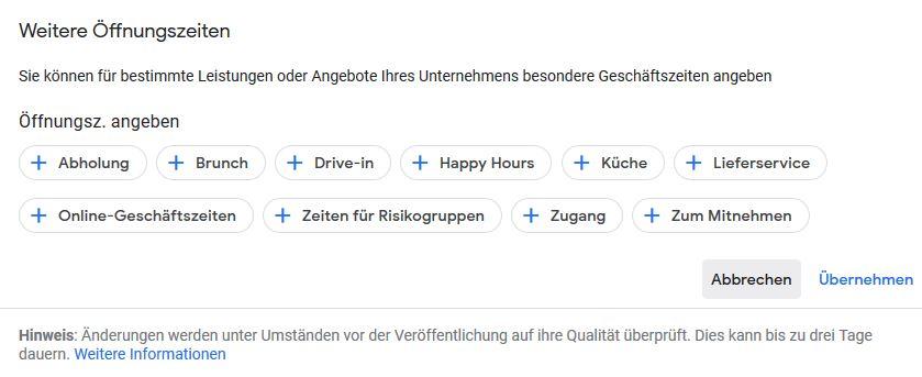 Weitere Öffnungszeiten Google MyBusiness